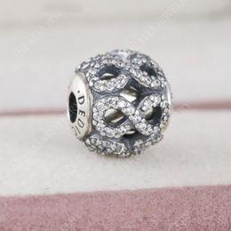 Wholesale Infinity Bracelet Sterling Silver - 2017 New 925 Sterling Silver Zircon Pave Infinity Dedication Essence Charm Beads Only Fit Women Essence Charm Bracelets DIY Jewelry HE13
