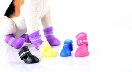 Wholesale Rubber Dog Boots - New Cute Dog Boots Waterproof Protective Rubber Silicone Pet Rain Shoes Boots botas Candy Colors S M L 4pcs set