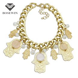 Wholesale Big Chunky Fashion Jewelry - Arabia Hamsa Statement Necklace For Women fashion Chunky Chain Bib Choker Crystal Palm Big Pendant Necklaces Maxi Jewelry CE3882