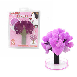 Wholesale Magic Tree Wholesale - Paper new style Magic trees flower growing sakura, OPP bag white chassis medium cherry trees DHL free shipping