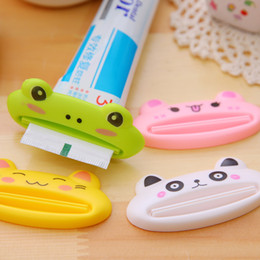 Wholesale Tuba Wholesalers - 5PCS   LOT lovely Cartoon frog   animals tuba Toothpaste Squeezer Easy Squeeze 5 colors sent at random Toiletries free shipping