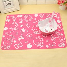 Wholesale Picnic Table Cloths - Wholesale- Kawaii Kitty Cat Silicone Placemat Cartoon Kitchen Dinning Outdoor Picnic Waterproof Table Cloth Pad Mat Table Cover Home Decor