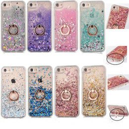 Wholesale Customized Rings - Bling dynamic Liquid Case For iPhone X 8 7 Ring Holder Quicksand Cases TPU Frame Cover For iPhone 6 6S 7 Plus