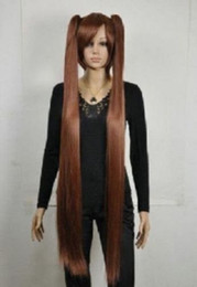 Wholesale Extra Long Straight Black Hair - free shipping charming beautiful new Hot sell Best Brown Extra Long Lolita Girl Split Straight Cosplay Wigs 2 Ponytail