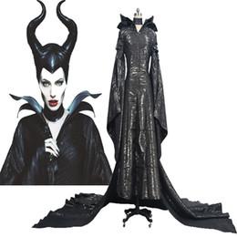 Wholesale Movies Angelina Jolie - HOT Halloween COS Maleficent Angelina Jolie Cosplay Costume Womens Black Dress Suit Custom Made Chrismas Handmade