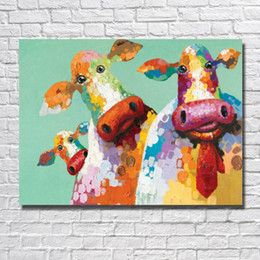 Wholesale cow paintings - Free shipping canvas animal cow oil painting funny animal wall pictures no framed painting for living room wall