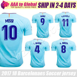 Wholesale Quick Stop - SUAREZ Jerseys 2018 Camisas Sky Blue Dembele Messi INIESTA PIQUE Soccer Jersey 17 18 Camiseta de futbol