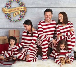 Wholesale Girl S Pajamas - Retail Family Matching Christmas Pajamas Kids Boys Girls Dad Mom 2 Piece Christmas Striped Cotton Pajamas Set