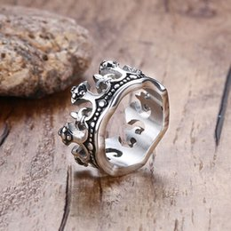 Wholesale Stainless Ring Fleur Lis - Wholesale- Men's Vintage Gothic Crown Rings Band Silver-color Fleur De Lis Cross Stainless Steel Bague Unisex Ring Bold Fashion Jewelry