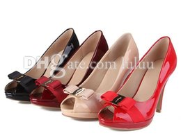 Wholesale Japanned Leather Shoes - fashion women pumps shoes brand Solid color japanned leather Party shoe Bowtie peep toes stiletto high heels shallow mouth work women shoes