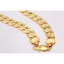 Wholesale Long 24k Gold Filled Chain - Chunky 24k Yellow Gold Filled Mens Necklace Solid Cuban Curb Chain 24in Long