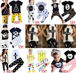 Wholesale Girls Harem Pants Sets - 2017 Kids Ins Clothing Sets Baby Fashion Suits Girls Letter T-Shirt & Pants Infant Casual Outfits Boys Ins Tops & Harem Pants