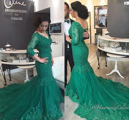 Wholesale nude bandage dress sleeves - 2017 Vintage Green V Neck Mermaid Evening Dresses CheapThree Quarter Sleeves Sequined Sweep Train Appliques Plus Size Formal Prom Gowns