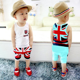 Wholesale Boys 18 Months Vest - New Clothing Set Caby 2016 Fashion Cotton Baby Boy Clothes Newborn Infant Sleeveless National Flag Printed Vest Pants Clothing Set Bebes