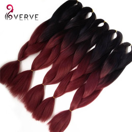 "Wholesale Wholesale Synthetic African Hair - wholesale Amaze burgundy Ombre African Box Hair Braiding Expression Kanekalon Jumbo Braid Hair Extension 24"" 5pcs Synthetic hair"