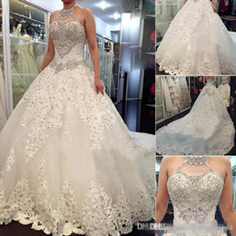 Wholesale Organza Brooch - 2017 Princess A Line Wedding Dresses Halter Organza Cathedral Church Plus Size Bridal Gowns For Church with Beading Custom Made