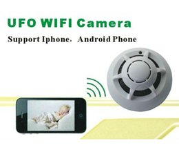 Wholesale Ip Dvr Security System - P2P Wireless IP Network Camera UFO Wifi Cameras Smoke Detector DVR Digital Video Recorder Cam Security System Free Shipping