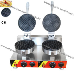 Argentina Envío gratis uso comercial antiadherente 110 v 220 v eléctrico doble redondo estándar belga fabricante de gofres máquina de panadero de hierro Suministro
