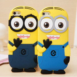 "Wholesale Despicable Dhl - For iphone 5 6 Plus 5.5"" 3D Cute Minions Despicable Me2 Case Soft Silicone Cartoon Back Cover Smile Big Eye minions DHL"