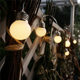 Luces de patio de cuerda online-1X Led Powered Led Led String Light 3M 10 G50 Bombillas Globo impermeable Led String Lights para Valla / Patio / Patio / Jardín Blanco / Luz blanca cálida