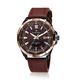 Wholesale Quartz Movt - 2016 New Arrival Mens Top Brand NAVIFORCE 9056 Tag Watches High Quality Leather Strap Date Japan Movt Quartz Military Hours