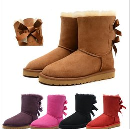 Wholesale Cheap Black High Heeled Boots - New Australia boot Classic snow Boots High Quality Cheap WGG women winter boots real leather Bailey Bowknot women's bailey bow snow boots
