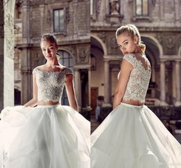 Wholesale Eddy K - New 2017 Summer Beach Two Pieces Wedding Dresses Eddy K Beaded Sheer Crew Neck Cap Sleeves Button Back Turky Bridal Gowns with Tiers Skirts