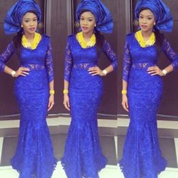 königsblau afrikanische traditionelle kleider Rabatt African Traditional 2016 Elegante Lange Ärmel Royal Blue Lace Mermaid Abendkleider Lange Abendgesellschaft Kleider vestido de festa