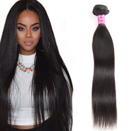 Wholesale Indian Hair Wefts - Brazilian Virgin Hair Straight Human Hair Weave Bundles Unprocessed Remy Human Hair Extensions Wefts 8-40 inch Longest 32 34 36 38 inch