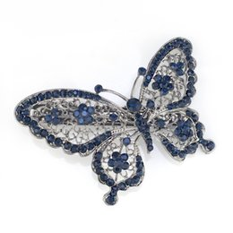 Wholesale Butterfly Clips For Hair - Wholesale-Amazing Butterfly Hairpin Blue Crystal Headwear Barrette Hair Clip Headwear Accessories Jewelry For Woman Girls