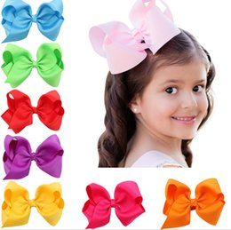 Wholesale double ribbon bows - Grosgrain ribbon Bows flower double prong clips covered hairpin Baby Bowknot hair Elastic bobbles bow hairband Hair Accessories kids