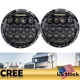 Wholesale Led Running Lights Inch - Addmotor 7 Inch Round LED Car Headlight 2PCSx75W Hi Lo Beam With Daytime Running Light For Jeep Wrangler JK TJ Black