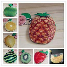 Wholesale Imitation Fruit - Girls Cute Fruits pu Coin Purse Key case Card holders Fashion imitation fruit pouch Lemon Pineapple Orange Apple Strawberry Watermelon