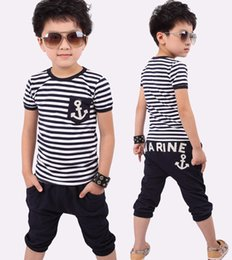Wholesale Zebra Suits - 2016 Selling New Spring Kids Clothes Navy Long Sleeve Pullover Striped Sports Suit Casual Boys Clothing Set For 2-7T