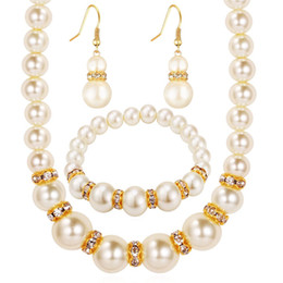 Wholesale 18k Platinum Necklace Set - pearl jewelry sets african bead Platinum plating austrian crystal fashion necklace earrings wedding women bridal gift new party set jewelrys
