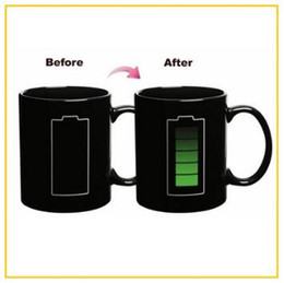 Wholesale Black Wholesale Ceramic Coffee Cups - Battery Color-Changing Mugs Magic Cup Ceramic Temperature Induction Mugs Change Colour Coffee Cups Creative Ceramic Mugs CCA7692 30pcs