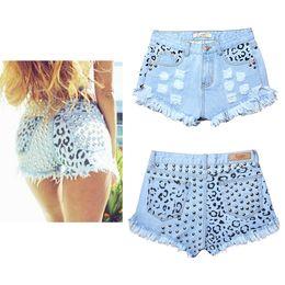 Wholesale Women S Beach Pants Cotton - Hot Fashion Leopard Shorts With Rivet Punk Hip Hop Clubwear Ripped Tassels Denim Cotton Shorts Loose Beach Shorts Pants BSF0377