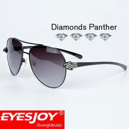 Wholesale Metal Cat Decoration - EYESJOY Black Panther Diamond Precious Brand Sunglasses Men Pilot Metal Frames Diamond Decoration With Original Red Box and Accessories