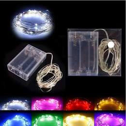 Wholesale Led Powered Batteries - Hot Sale 2M 3M 4M Party Christmas led Battery Power Operated 20 30 40 LEDs copper wire(with silver color) String strips Christmas light Lamp