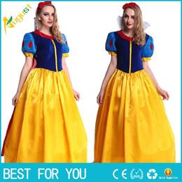 Wholesale Snow Women Xxl - KESHIWEI Women fantasia Princess Snow White Cosplay Costume Carnival Party Dress Women Adult Snow White Halloween Costume