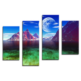 Wholesale Blue Wall Decor Art Canvas - Amosi Art-4 Pieces Home Decor Canvas Art Blue Sky The Moon And Mountain Wall Printings Night Landscape Arts(Wooden Framed)