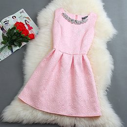 Wholesale Mini Sundresses Sale - Hot sale Size S-2XL 2016 New Spring Summer Autumn Women O-neck Sleeveless Solid Color Appliques Ball Gown Base Dresses Vestidos Sundress