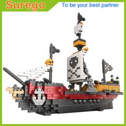 Wholesale Model Black Pearl Pirate Ship - 2017 Pirates Of The Caribbean Bounty Pirate Ship Black Pearl Boat 3D Model Mini Diamond Building Blocks Set Gifts for kids