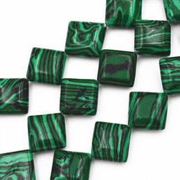 Wholesale Green Gemstones Loose - to win warm praise from customers New SQUARE 12x12mm Diagonal Green Malachite Gemstones Loose Beads 15inch