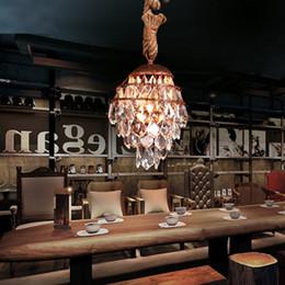 Cuerdas de luz de cristal led online-Cuerda vintage Colgante Loft Luz Personalidad Creativa Industrial lámpara colgante de cristal Retro Lámpara de Estilo Americano Decoración Del Hogar Comedor