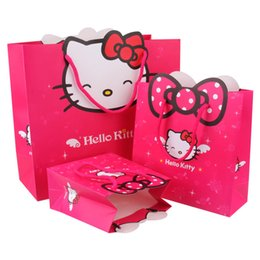 Wholesale Print Christmas Wrapping Paper - 14*15*7cm Hello Kitty Style Paper bags Gift Boxes Candy Bags Birthday Wedding Party Favors Christmas Gift Bags