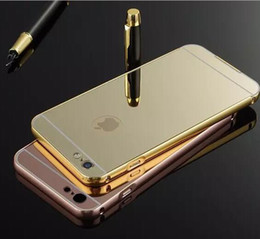 Wholesale Metal Back Iphone Case Bumper - Aluminum Metal Bumper Frame Case with Electroplate Mirror Hard Back Cover for Iphone 6 6S Plus SE 5 Samsung S5 S6 S7 Edge