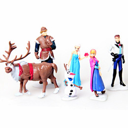 Wholesale Kids Girl Gift Set - Frozen Anna Elsa Hans Kristoff Sven Olaf PVC action Figure set kid Toy dolls Christmas Birthday gifts for girl 6pcs lot 7-10CM