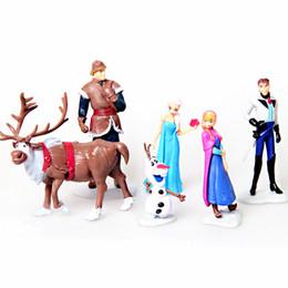 Wholesale Kids Toys Wholesale For Birthday - Frozen Anna Elsa Hans Kristoff Sven Olaf PVC action Figure set kid Toy dolls Christmas Birthday gifts for girl 6pcs lot 7-10CM
