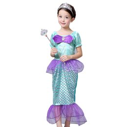 Wholesale Children Costume Character - 2016 New high quality Children Kids Cosplay Dresses Mermaid Costume Princess Wear Perform Clothes kids Christmas Party dress A5191